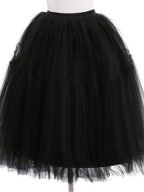 cheap Women's Skirts-Wedding / Wedding Party Slips Polyester / Tulle Knee-Length Solid Color / Tutus & Skirts with