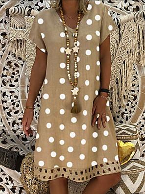 cheap Print Dresses-Women's Plus Size Shift Dress Knee Length Dress - Short Sleeve Polka Dot Print Summer V Neck Casual Holiday Vacation 2020 Blue Red Khaki Green Gray M L XL XXL XXXL XXXXL XXXXXL