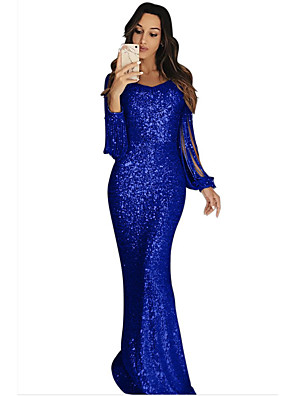 cheap Evening Dresses-Sheath / Column Sparkle Blue Party Wear Formal Evening Dress Jewel Neck Long Sleeve Sweep / Brush Train Sequined with Sequin 2020
