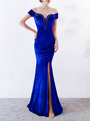 cheap Evening Dresses-Mermaid / Trumpet Sexy Blue Engagement Formal Evening Dress Off Shoulder Short Sleeve Floor Length Velvet with Beading Split 2020