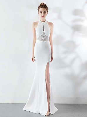 cheap Evening Dresses-Mermaid / Trumpet Elegant & Luxurious Furcal Formal Evening Dress Halter Neck Sleeveless Sweep / Brush Train Satin with Beading Split Front 2020