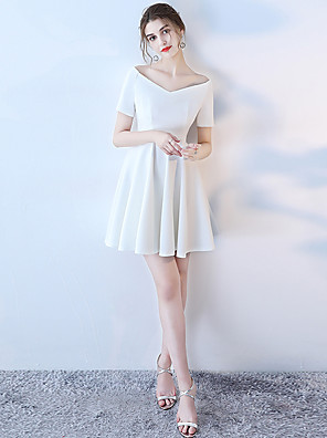 cheap Cocktail Dresses-A-Line Elegant Minimalist Holiday Cocktail Party Dress Off Shoulder Short Sleeve Short / Mini Polyester with 2020
