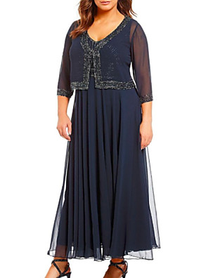 cheap Mother of the Bride Dresses-A-Line Mother of the Bride Dress Wrap Included V Neck Ankle Length Chiffon 3/4 Length Sleeve with Beading 2020