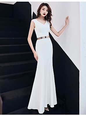 cheap Special Occasion Dresses-Mermaid / Trumpet Elegant & Luxurious Sparkle & Shine Formal Evening Dress V Neck Sleeveless Floor Length Charmeuse with Sash / Ribbon Split Front 2020