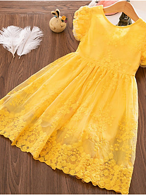 cheap Girls' Dresses-Kids Girls' Basic Geometric Short Sleeve Above Knee Dress Yellow
