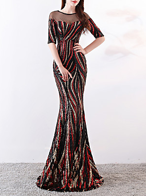 cheap Evening Dresses-Mermaid / Trumpet Elegant & Luxurious Sexy Formal Evening Dress Jewel Neck Half Sleeve Sweep / Brush Train Sequined with Sequin 2020