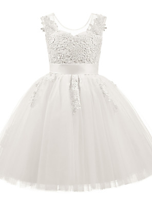 cheap Christening Gowns-Princess Short Length Christmas / Birthday / First Communion Flower Girl Dresses - Taffeta / Tulle / Cotton Sleeveless Scoop Neck with Sash / Ribbon / Appliques