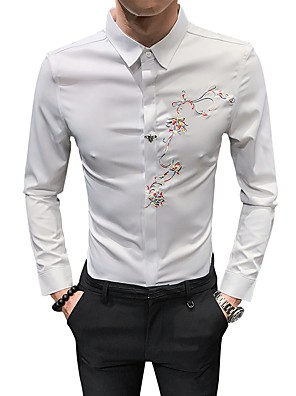 cheap Shirts-Men's Solid Colored Shirt Basic Casual White / Black