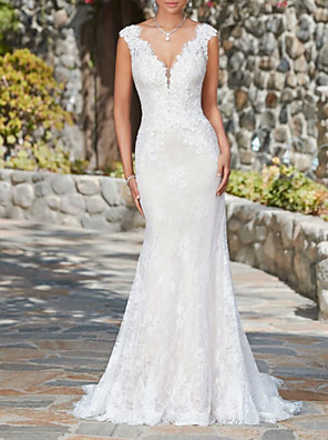cheap Wedding Dresses-Mermaid / Trumpet Wedding Dresses V Neck Sweep / Brush Train Lace Cap Sleeve Glamorous Sexy Illusion Detail with 2020
