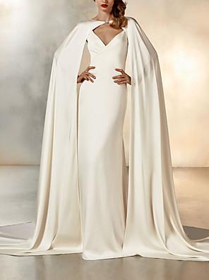 cheap Wedding Dresses-Mermaid / Trumpet Wedding Dresses V Neck Sweep / Brush Train Chiffon Spaghetti Strap Simple Sexy Backless Elegant Cape with 2020 / Yes