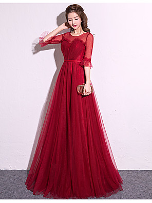 cheap Special Occasion Dresses-A-Line Elegant Minimalist Prom Dress Jewel Neck 3/4 Length Sleeve Floor Length Satin Tulle with 2020