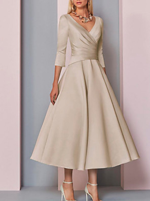 cheap Bridesmaid Dresses-A-Line Mother of the Bride Dress Elegant Vintage Plus Size V Neck Tea Length Satin 3/4 Length Sleeve with Pleats 2020