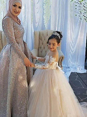 cheap Girls' Dresses-Ball Gown Sweep / Brush Train Wedding / First Communion / Pageant Flower Girl Dresses - Lace / Satin / Tulle Long Sleeve Boat Neck with Lace / Appliques