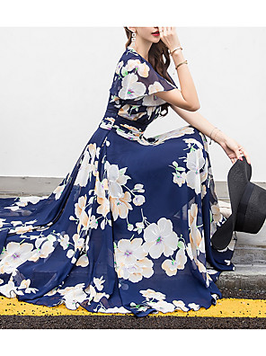 cheap Maxi Dresses-Women's Plus Size Chiffon Dress - Short Sleeve Floral Print Spring Summer V Neck Holiday Beach Apricot White Blue Yellow Fuchsia M L XL XXL XXXL XXXXL XXXXXL