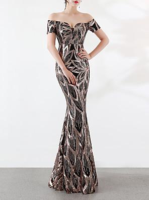 cheap Evening Dresses-Mermaid / Trumpet Elegant & Luxurious Elegant Formal Evening Dress Off Shoulder Short Sleeve Sweep / Brush Train Sequined with Sequin 2020