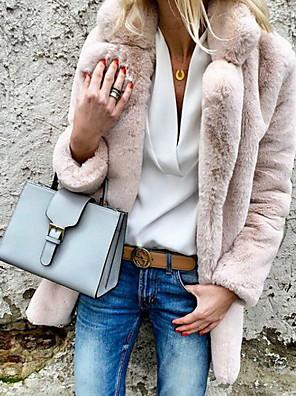 cheap Women's Fur & Faux Fur Coats-Women's Faux Fur Coat Daily Basic Plus Size Shirt Collar Regular Solid Colored White / Red / Blushing Pink S / M / L