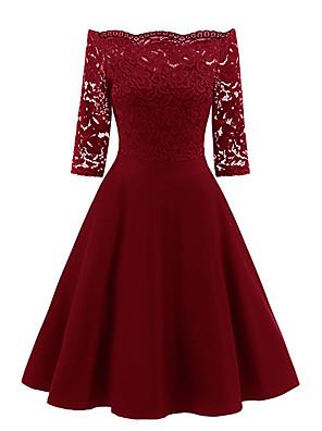 cheap Romantic Lace Dresses-Women's Sheath Dress - Half Sleeve Solid Colored Off Shoulder Wine Navy Blue S M L XL XXL