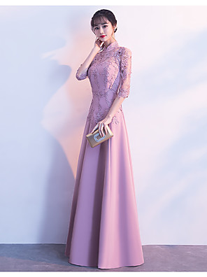 cheap Special Occasion Dresses-A-Line Elegant & Luxurious Elegant Formal Evening Dress High Neck 3/4 Length Sleeve Floor Length Satin with Appliques 2020