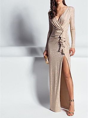 cheap Evening Dresses-Sheath / Column Elegant Formal Evening Dress Plunging Neck Long Sleeve Floor Length Sequined with Sequin Split Front 2020