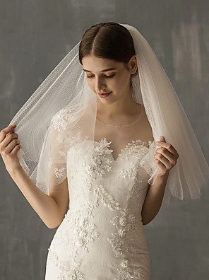 cheap Wedding Slips-Two-tier European Style Wedding Veil Elbow Veils with Solid Tulle / Angel cut / Waterfall