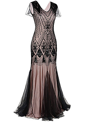 cheap Maxi Dresses-The Great Gatsby Charleston 1920s Flapper Dress Party Costume Women's Sequins Costume Black / Golden / Black / Red Vintage Cosplay Party Prom Sleeveless Maxi Mermaid / Trumpet