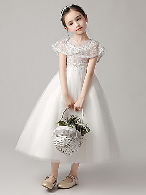 cheap Evening Dresses-Princess Ankle Length Party / Pageant Flower Girl Dresses - Polyester Short Sleeve Jewel Neck with Lace