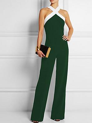 povoljno Ženski jednodijelni kostimi-Žene Osnovni Crn Vojska Green Plava Slim Jumpsuits Onesie, Jednobojni Kolaž S M L