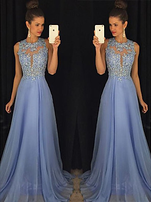 cheap Evening Dresses-A-Line Empire Blue Prom Formal Evening Dress Jewel Neck Sleeveless Sweep / Brush Train Chiffon with Beading Appliques 2020