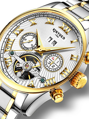 cheap Sport Watches-KINYUED Men's Skeleton Watch Wrist Watch Mechanical Watch Automatic self-winding Charm Water Resistant / Waterproof Stainless Steel Black / Silver Analog - Black / Gold White / Black White+Golden