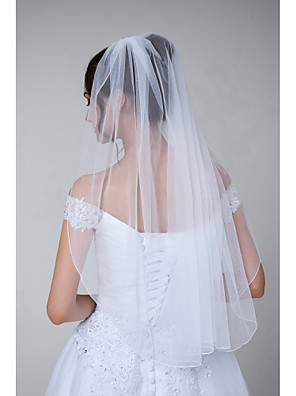 cheap Evening Dresses-One-tier Simple / Classic Style Wedding Veil Elbow Veils with Solid Tulle