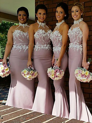 cheap Bridesmaid Dresses-Mermaid / Trumpet High Neck Floor Length Jersey Bridesmaid Dress with Appliques