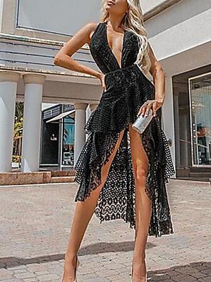 cheap Women's Dresses-Women's A-Line Dress Short Mini Dress - Sleeveless Solid Color Lace Deep V Elegant Sexy Party Homecoming Lace Black S M L XL