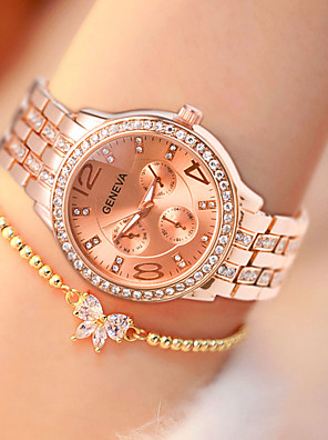 cheap Quartz Watches-Women's Quartz Watches Quartz Modern Style Stylish Classic Water Resistant / Waterproof Stainless Steel Silver / Gold / Rose Gold Analog - Rose Gold Gold Silver One Year Battery Life / Large Dial