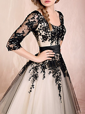 cheap Cocktail Dresses-Ball Gown White Black Engagement Prom Dress Scoop Neck Half Sleeve Ankle Length Lace Tulle with Appliques 2020