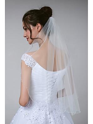 cheap Wedding Wraps-One-tier Stylish / Classic Wedding Veil Elbow Veils with Beading Tulle
