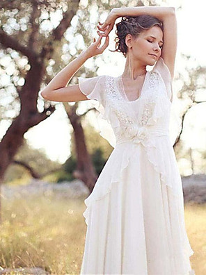 cheap Prom Dresses-A-Line Wedding Dresses V Neck Sweep / Brush Train Chiffon Short Sleeve Country Casual Boho Little White Dress See-Through with Beading Appliques 2020