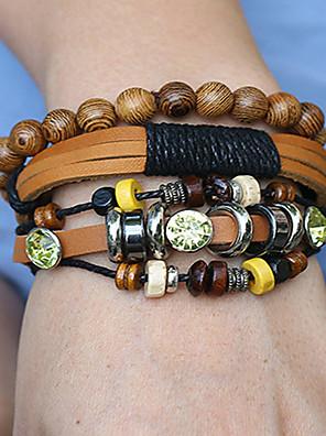 cheap Sport Watches-3pcs Men's Women's Bead Bracelet Wrap Bracelet Vintage Bracelet Layered Weave Classic Vintage Ethnic Fashion Boho Wooden Bracelet Jewelry Brown For Daily School Street Holiday Festival