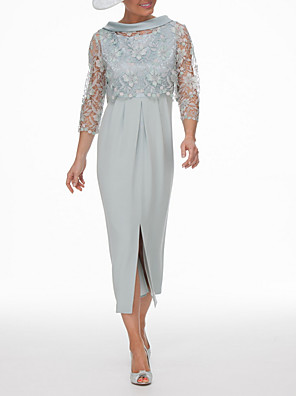 cheap Mother of the Bride Dresses-Two Piece Sheath / Column Mother of the Bride Dress Wrap Included Jewel Neck Ankle Length Chiffon Lace 3/4 Length Sleeve with Appliques Split Front 2020