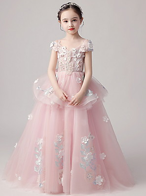 cheap Flower Girl Dresses-Ball Gown Floor Length Party / Pageant Flower Girl Dresses - Polyester / Tulle Short Sleeve V Neck with Tiered