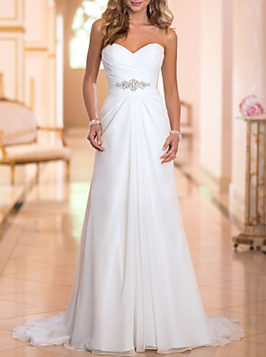 cheap Wedding Party Dresses-A-Line Wedding Dresses Strapless Sweep / Brush Train Chiffon Strapless Simple Backless with Crystals 2020