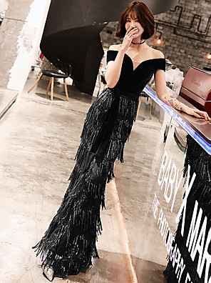 cheap Special Occasion Dresses-Mermaid / Trumpet Elegant Formal Evening Dress Off Shoulder Short Sleeve Floor Length Lace Velvet with Sequin 2020