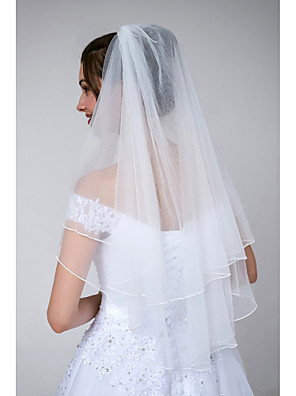 cheap Wedding Veils-Two-tier Classic & Timeless / Glamorous & Dramatic Wedding Veil Elbow Veils with Solid Tulle