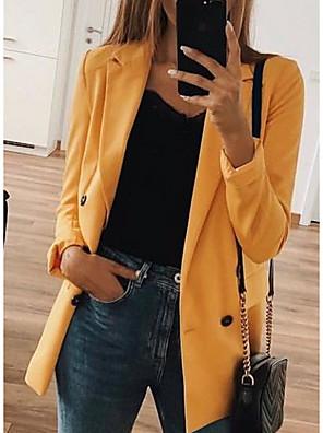 billige Blazere-Dame V-hals Blazer Ensfarvet Sort / Gul / Lyserød S / M / L / Tynd