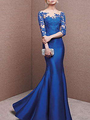 cheap Evening Dresses-Mermaid / Trumpet Beautiful Back Blue Engagement Formal Evening Dress Illusion Neck Half Sleeve Floor Length Lace Charmeuse with Buttons Appliques 2020