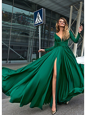 cheap Cocktail Dresses-A-Line Empire Green Holiday Formal Evening Dress V Neck Long Sleeve Floor Length Chiffon with Split Front 2020