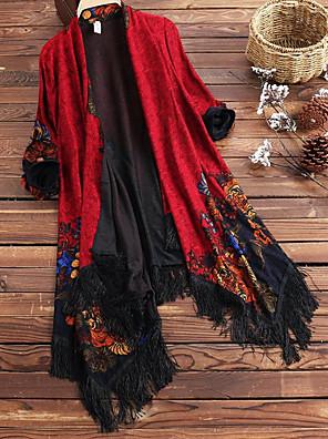 cheap Women's Coats & Trench Coats-Women's V Neck Cloak / Capes Regular Geometric Daily Beach Sophisticated Boho Fall & Winter Tassel Fringe Black & Red Batwing Sleeve Red / Fuchsia / Navy Blue XL / XXL / XXXL / Loose