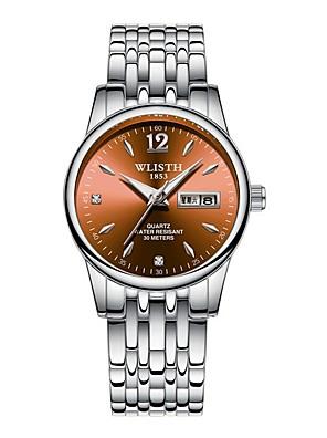 cheap Watches-Women's Steel Band Watches Japanese Quartz Calendar / date / day Noctilucent Analog Minimalist - Black White Blue