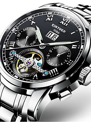 cheap Sport Watches-KINYUED Men's Skeleton Watch Mechanical Watch Automatic self-winding Luxury Water Resistant / Waterproof Black / Silver Gold / White Golden Black / Blue / Stainless Steel / Calendar / date / day