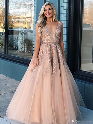 cheap Prom Dresses-Ball Gown Luxurious Pink Prom Formal Evening Dress V Neck Sleeveless Floor Length Tulle with Beading Appliques 2020