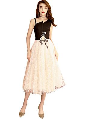 cheap Cocktail Dresses-A-Line Elegant Sparkle & Shine Holiday Cocktail Party Dress One Shoulder Sleeveless Tea Length Lace Velvet with Appliques 2020